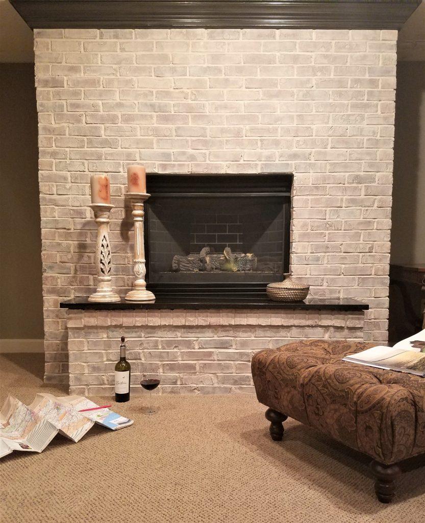 How Whitewash Brick Stone Fireplace Renee Romeo
