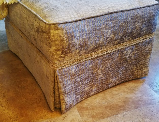how to reupholster an ottoman with piping