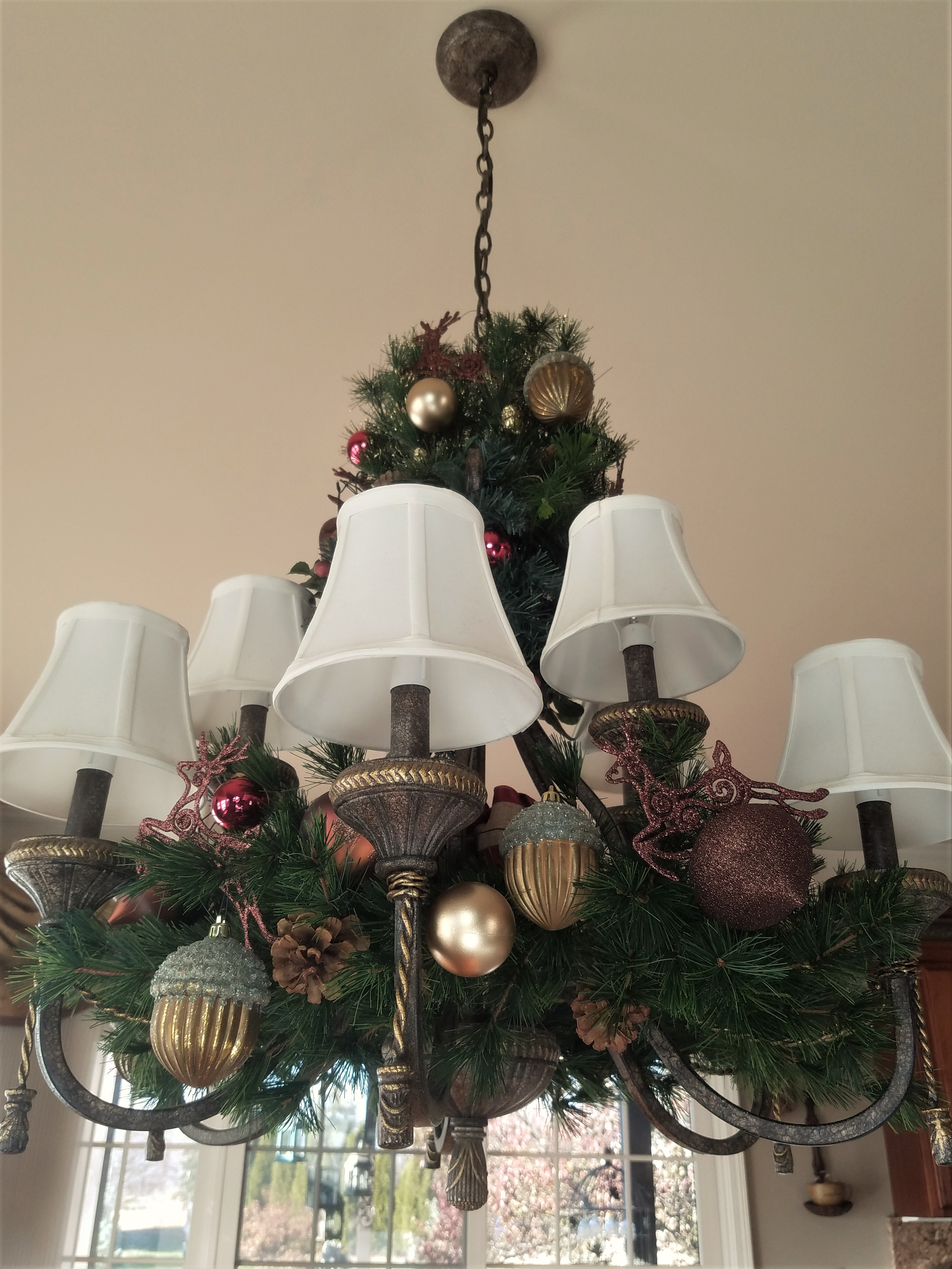 How to decorate a holiday chandelier for christmas renee romeo aloadofball Image collections