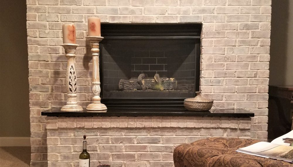 how to whitewash a brick or stone fireplace