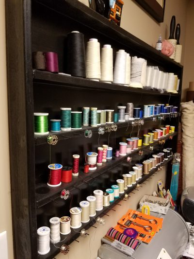 how to make a DIY thread storage rack