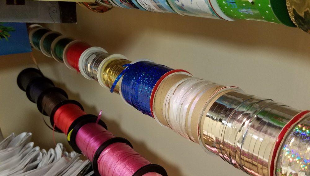 DIY ribbon and gift bag organizer